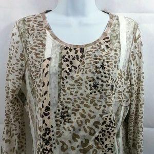Coldwater Creek Leopard Print Blouse. Size Large